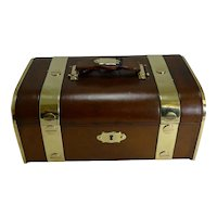 Fine Large Antique French Leather and Brass Jewellery Box c.1890