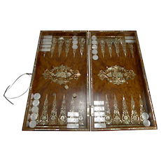 Exquisite English Mother of Pearl Inlaid Amboyna Backgammon Board c.1890