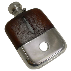 Handsome Cognac Leather and Engine Turned Sterling Silver Hip / Liquor Flask