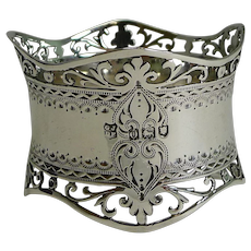 Stunning Antique English Sterling Silver Napkin Ring - 1909