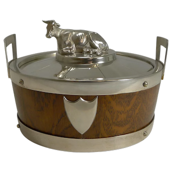 Antique English Oak and Silver Plate Butter Dish c.1890 - Cow