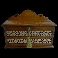 Antique English Oak & Brass Letters Box c.1890