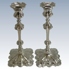 Smart Pair Antique English Silver Plate Candlesticks by Elkington & Co. - 1845