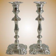 Elegant Pair Antique English Candlesticks by Elkington - 1853