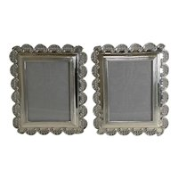 Fabulous Pair Unusual Antique English Sterling Silver Photograph Frames - 1898