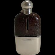 Superb Antique English Sterling Silver and Crocodile / Alligator Hip Flask - 1898
