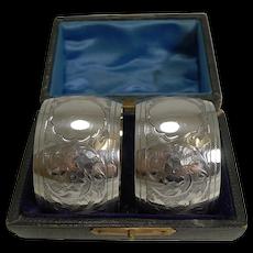 Pair Elegant Cased English Sterling Silver Napkin Rings - 1908