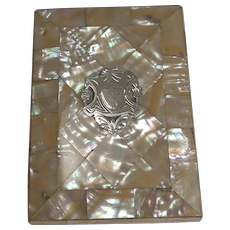 Antique English Silver Mounted Mother of Pearl Card Case c.1860