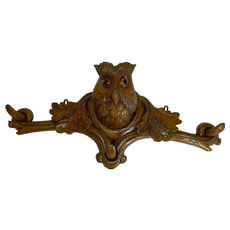Grand Black Forest Hat Stand - Owl With Glass Eyes c.1890