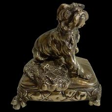 Magnificent Antique English Brass / Bronze Dog Jewelry Box c.1880