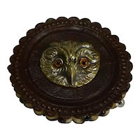 Antique English Leather and Brass Pin Cushion - Owl With Brass Eyes c.1900