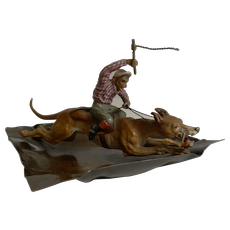 Magnificent Antique Cold Painted Vienna Bronze Dish - Monkey Racing a Greyhound c.1900