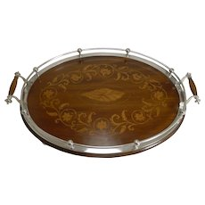 Magnificent Antique English Inlaid Oak Serving Tray With Silver Plated Fittings c.1900
