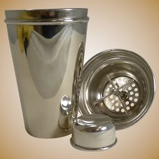 Vintage English Art Deco Silver Plated Cocktail Shaker With Integral Ice Breaker c.1930