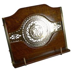 Antique English Oak and Brass Lectern / Book Rest c.1890