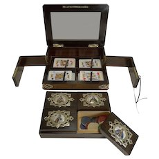 Magnificent Antique Games / Playing Card Box c.1880