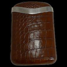 Large Antique English Crocodile / Alligator & Sterling Silver Cigar Case - 1915