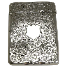 Antique English Sterling Silver Visiting Card Case -1896