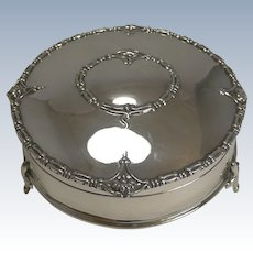 Antique English Sterling Silver Jewelry / Ring Box - 1917