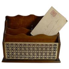 Antique, English Oak and Brass Letter / Stationery Box / Holder c.1890