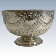 """Stunning Antique English Sterling Silver 8 1/4"""" Bowl by William Hutton - 1904"""