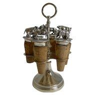 Wonderful Set Austrian Silver Plated Figural Wine / Bottle Corks c.1920