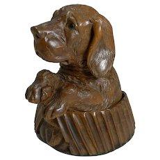 Handsome Antique Carved Black Forest Novelty Inkwell - Dog c.1880