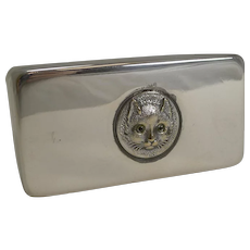 Small Antique English Crystal Box - Cat With Glass Eyes c.1900
