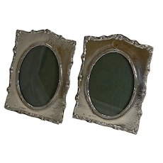 Pair Antique English Sterling Silver Photograph Frames by Henry Matthews