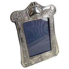 Magnificent Art Nouveau English Sterling Silver Photograph Frame - Dragonfly