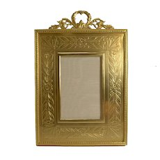 Top Quality French Gilded Bronze Photograph Frame - Engraved Slip c.1900