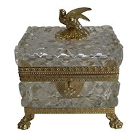 Magnificent Figural French Cut Crystal and Gilded Bronze Jewelry Casket / Box - Dove