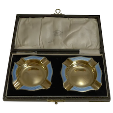 Rare Pair Cased Silver Gilt and Blue Guilloche Enamel Ashtrays - 1929