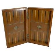 Antique English Folding Chess / Backgammon / Checkers Board c. 1890 /1900