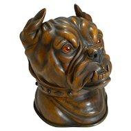 Finest Large Antique Tobacco Box in Fruitwood - English Bulldog c.1880
