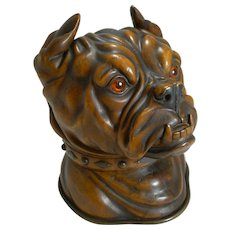 Finest Large Antique Tobacco Box in Fruitwood - English Bulldog c.1880