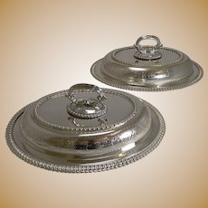 Handsome Pair of Elkington Silver Plated Entree / Serving Dishes - 1884