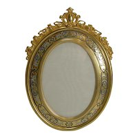 Fine Antique French Gilded Bronze and Champleve Enamel Photograph Frame c.1890