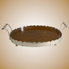 Antique English Oak and Silver Plated Tray c.1900