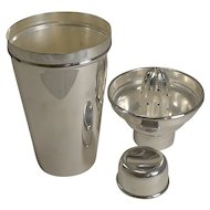 Art Deco Cocktail Shaker With Lemon Squeezer c.1930 - Goldsmith's and Silversmith's Co.