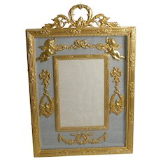 Antique French Gilded Bronze Photograph / Picture Frame c.1900 - Cherubs