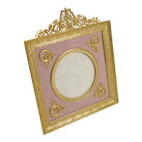 Pretty Antique French Gilded Bronze Picture Frame - Pink Taffeta