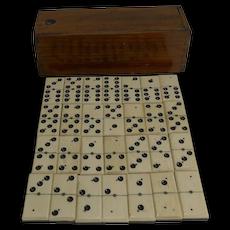 Antique English Boxed Set Bone & Ebony Wood Dominoes c.1900