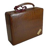 Antique English Crocodile / Alligator Jewelry Box / Suitcase c.1910