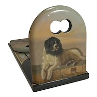 Pristine Hand Painted Book Slide / Bookends - Dog, After Sir Edwin Henry Landseer