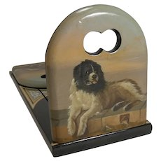 Pristine Hand Painted Book Slide / Bookends - Dog, After Sir Edwin Henry Landseer