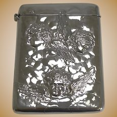 Antique English Sterling Silver Card Case - Angels - 1898