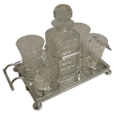 Antique English Drinks Set on Fitted Tray by John Bishop Chatterley c.1900