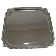 Scottish Square Silver Plate Cocktail Tray / Serving Salver c.1910