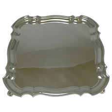Smart English Silver Plated Square Salver or Tray c.1920